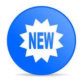 Nieuwe blauwe cirkel web glanzende pictogram — Stockfoto