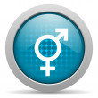 Sex blue circle web glossy icon — Stockfoto