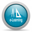 E-learning blue circle web glossy icon - Stock Photo