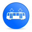 Royalty-Free Stock Photo: Tram blue circle web glossy icon