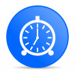 Alarm clock blue circle web glossy icon — Stockfoto