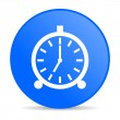 Alarm clock blue circle web glossy icon — Stok fotoğraf