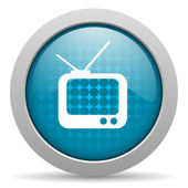 Tv blue circle web glossy icon — Stock Photo