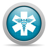 Caduceus blue circle web glossy icon — Stock Photo