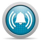 アラームのブルーの円 web 光沢のあるアイコン — ストック写真