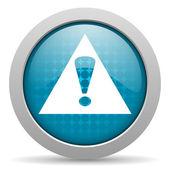 Warning blue circle web glossy icon — Stock Photo