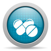 Pills blue circle web glossy icon — Stock Photo