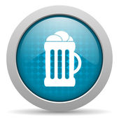 Beer blue circle web glossy icon — Stock Photo