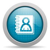 Address book blue circle web glossy icon — Stock Photo