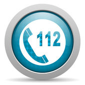 Emergency call blue circle web glossy icon — Stock Photo