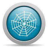 Pająk web niebieskie koło www błyszczący ikona — Zdjęcie stockowe