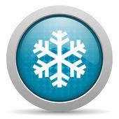 Sneeuwvlok blauwe cirkel web glanzende pictogram — Stockfoto