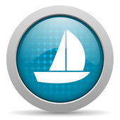 Yacht blue circle web glossy icon — Stock Photo