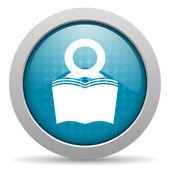 ícone brilhante do livro círculo azul web — Foto Stock