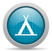 Camping blue circle web glossy icon — Stock Photo