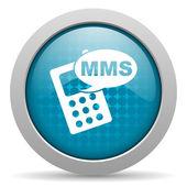 Mms のブルーの円 web 光沢のあるアイコン — ストック写真