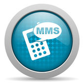 Mms blue circle web glossy icon — Photo