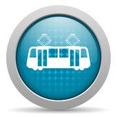 トラム青い円 web 光沢のあるアイコン — ストック写真