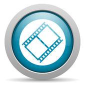 фильм голубой круг веб глянцевой значок — Стоковое фото