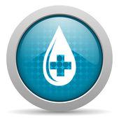 Blood blue circle web glossy icon — Stock Photo