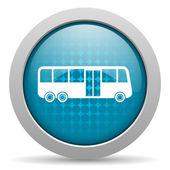 Icono brillante de autobús círculo azul web — Foto de Stock