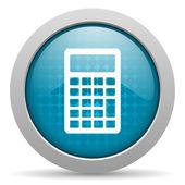 Calculator blue circle web glossy icon — Stock Photo
