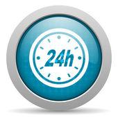 24h blue circle web glossy icon — Stock Photo