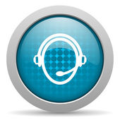 Customer service blue circle web glossy icon — Foto Stock