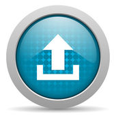 Upload blue circle web glossy icon — Stock Photo