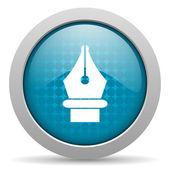 Pen blue circle web glossy icon — Stock Photo