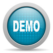 Demo blue circle web glossy icon — Stock Photo