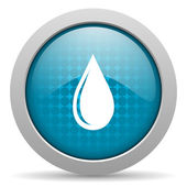 Water drop blue circle web glossy icon — Stock Photo