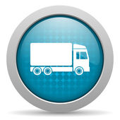 Delivery blue circle web glossy icon — Stock Photo