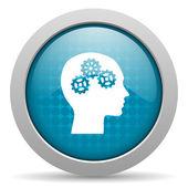 Head blue circle web glossy icon — Stock Photo