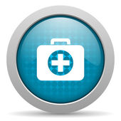 First aid kit blue circle web glossy icon — Stock Photo