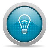 Lâmpada azul círculo web lustrosa ícone — Fotografia Stock