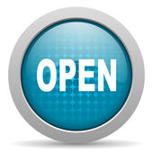 Open blue circle web glossy icon — Stock Photo