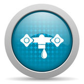 Water blue circle web glossy icon — Stock Photo