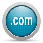 Com синий круг веб глянцевой значок — Стоковое фото