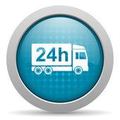Lieferung 24h blauer Kreis Web glossy Ii — Stockfoto