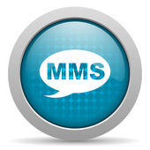 Mms blauwe cirkel web glanzende pictogram — Stockfoto