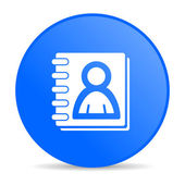 Address book blue circle web glossy icon — Stock Photo