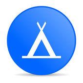 Camping blue circle web glossy icon — Stock Photo
