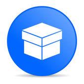Box blue circle web glossy icon — Stock Photo