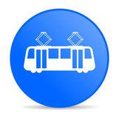 Tram blue circle web glossy icon — Stock Photo