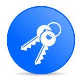 ключи синий круг веб глянцевой значок — Стоковое фото