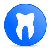 Icône de papier glacé web dent de cercle bleu — Photo