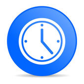 Clock blue circle web glossy icon — Stock Photo