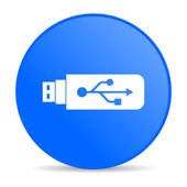 Usb blue circle web glossy icon — Stock Photo
