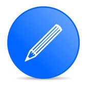 Pencil blue circle web glossy icon — Stock Photo